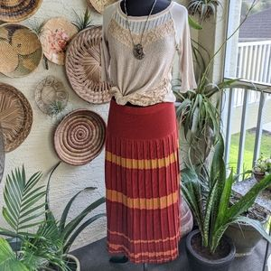 Peruvian Connection L Pleated Skirt Red Knit Pima